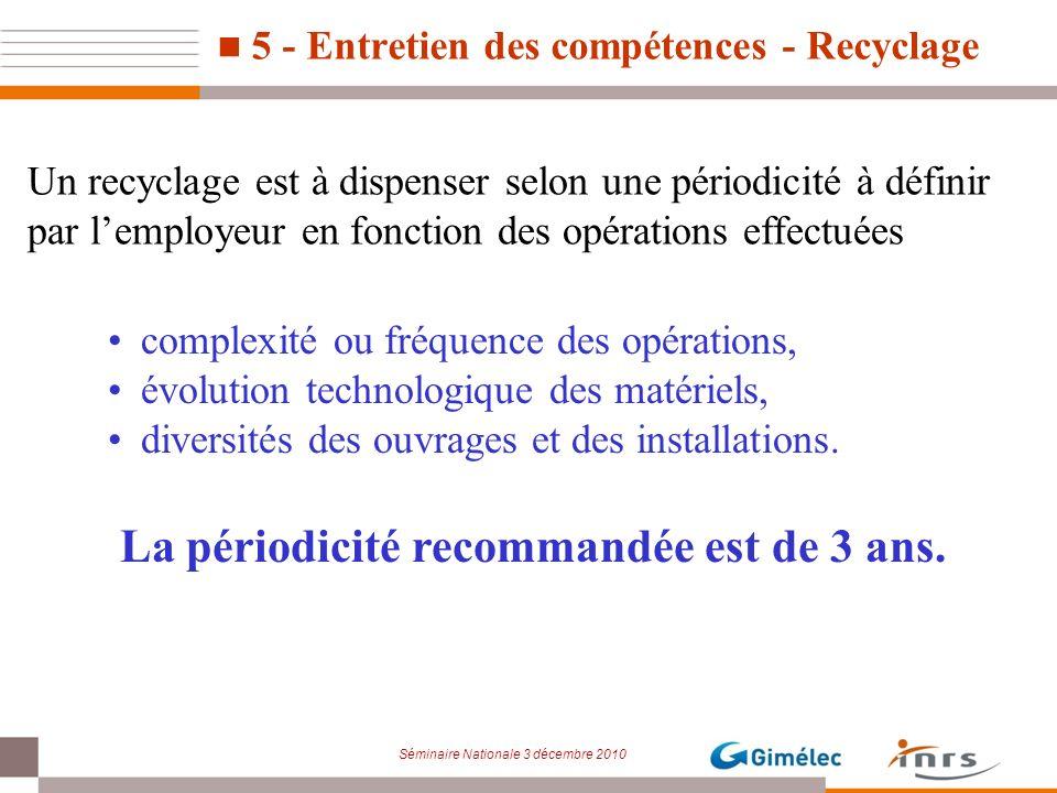 Séminaire Nationale 3 décembre 2010 5 - Entretien des compétences - Recyclage complexité ou fréquence des opérations, évolution technologique des maté
