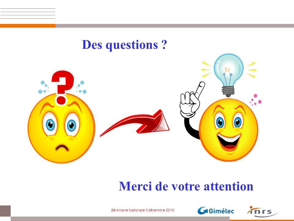 Séminaire Nationale 3 décembre 2010 Merci de votre attention Des questions ?