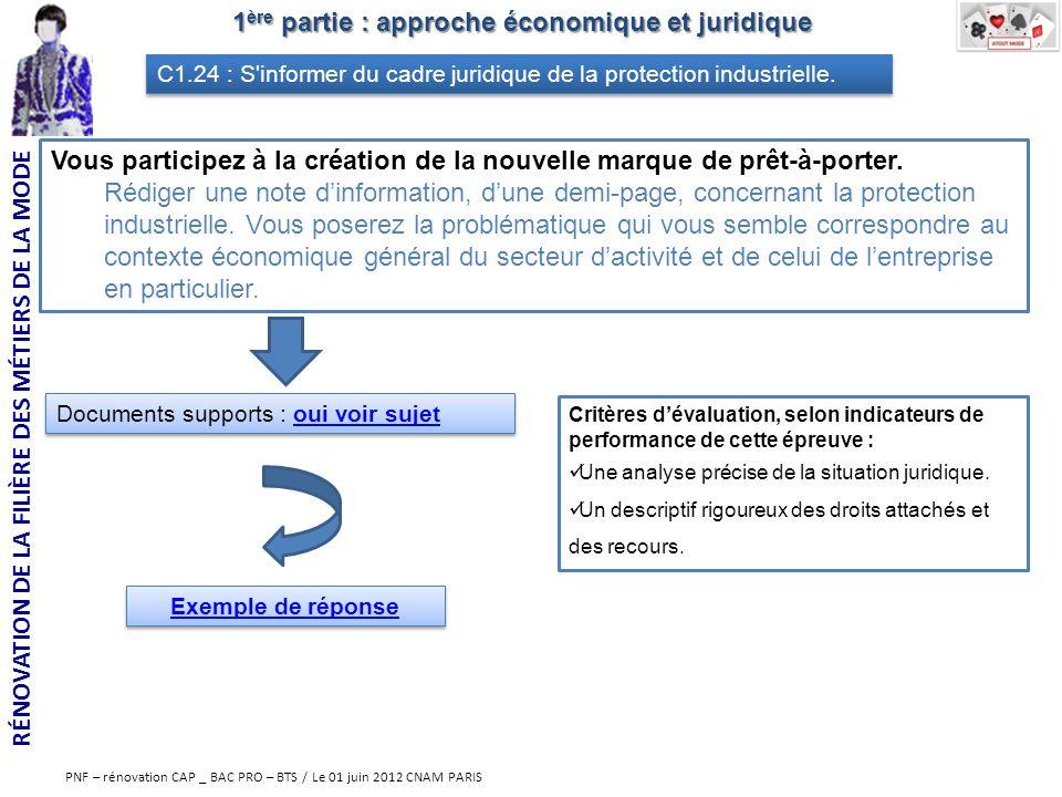 RÉNOVATION DE LA FILIÈRE DES MÉTIERS DE LA MODE PNF – rénovation CAP _ BAC PRO – BTS / Le 01 juin 2012 CNAM PARIS 1 ère partie : approche économique e