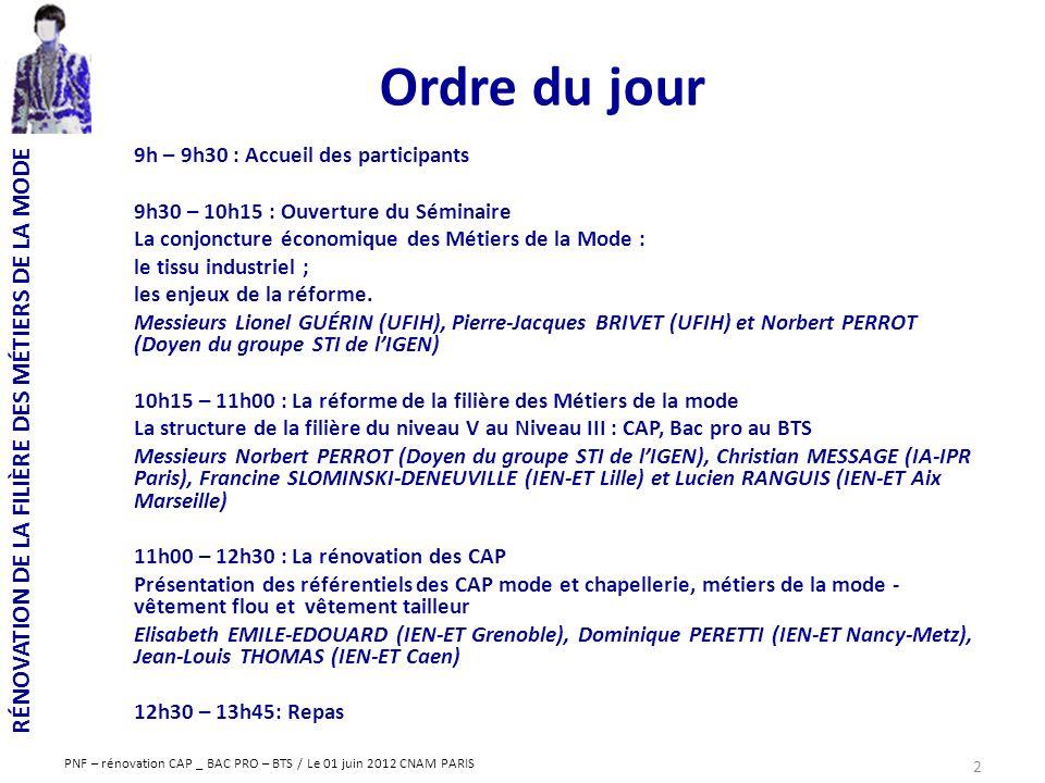 RÉNOVATION DE LA FILIÈRE DES MÉTIERS DE LA MODE PNF – rénovation CAP _ BAC PRO – BTS / Le 01 juin 2012 CNAM PARIS Ordre du jour 9h – 9h30 : Accueil de