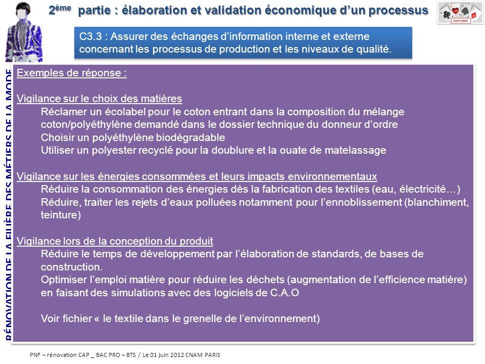 RÉNOVATION DE LA FILIÈRE DES MÉTIERS DE LA MODE PNF – rénovation CAP _ BAC PRO – BTS / Le 01 juin 2012 CNAM PARIS 2 ème partie : élaboration et valida