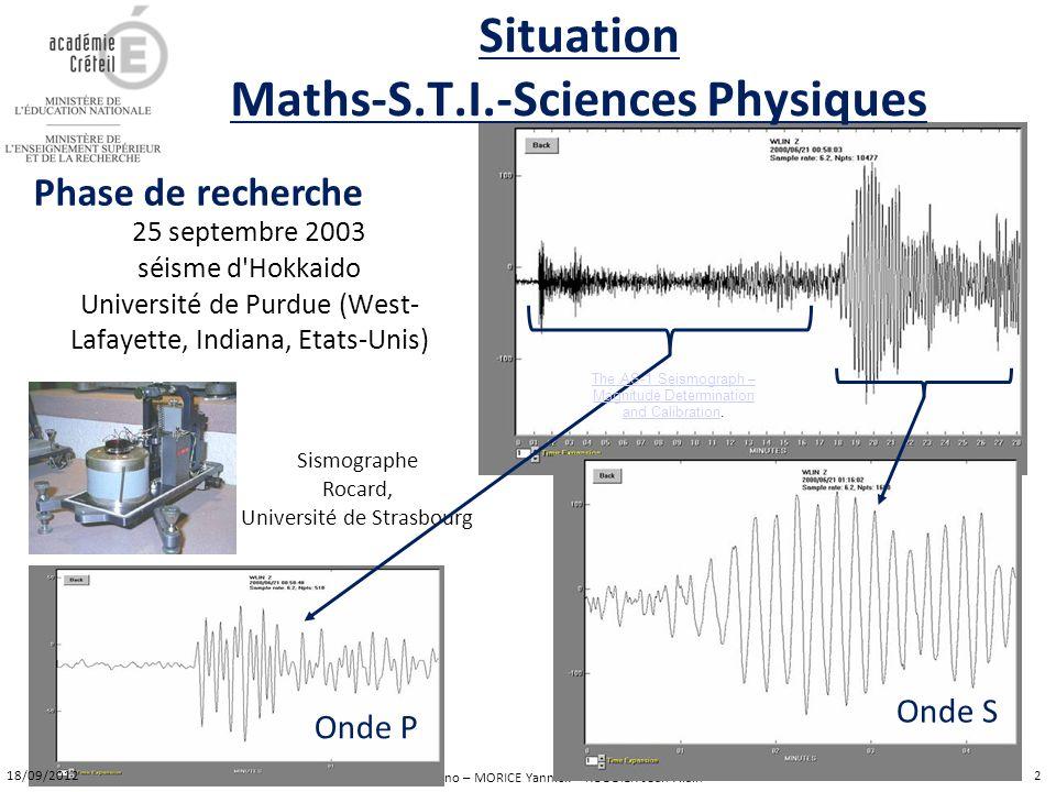 MOMBELLI Bruno – MORICE Yannick – RODDIER Jean-Alain 25 septembre 2003 séisme d'Hokkaido Université de Purdue (West- Lafayette, Indiana, Etats-Unis) S