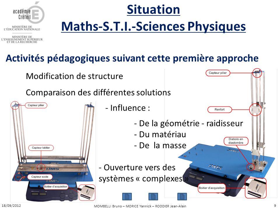 MOMBELLI Bruno – MORICE Yannick – RODDIER Jean-Alain Activités pédagogiques suivant cette première approche Modification de structure Comparaison des