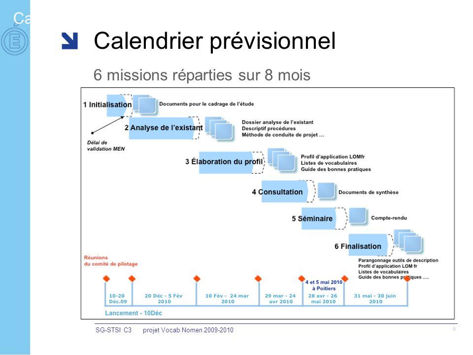 SG-STSI C3projet Vocab Nomen 2009-2010 6 Calendrier Calendrier prévisionnel 6 missions réparties sur 8 mois