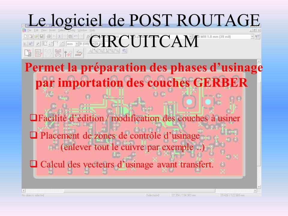 Le logiciel de POST ROUTAGE CIRCUITCAM Permet la préparation des phases dusinage par importation des couches GERBER Facilité dédition / modification d