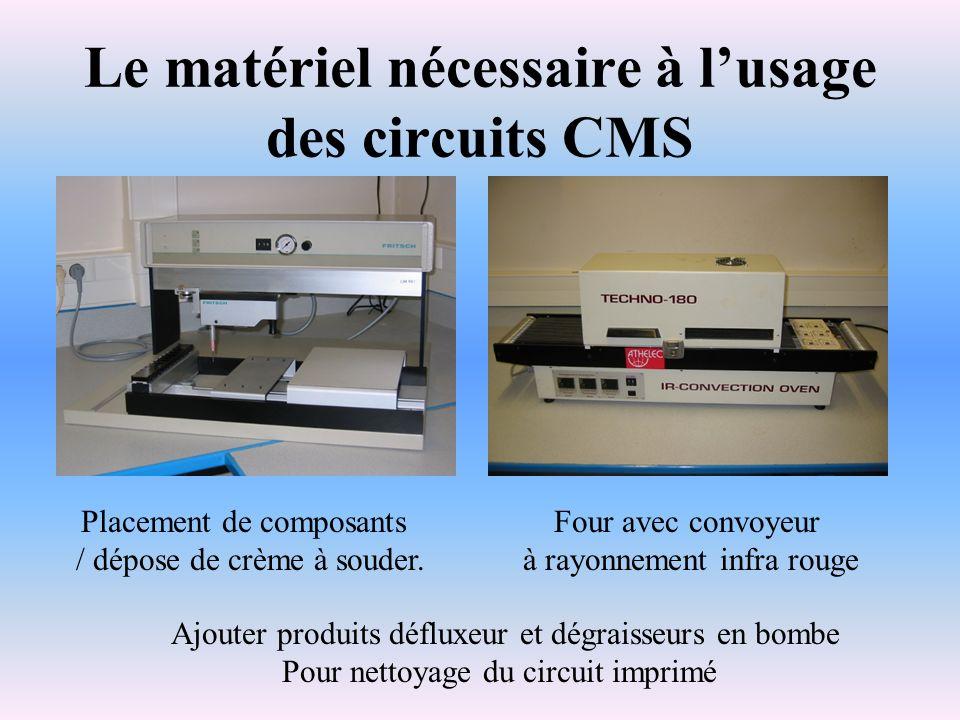 Le matériel nécessaire à lusage des circuits CMS Placement de composants / dépose de crème à souder. Four avec convoyeur à rayonnement infra rouge Ajo