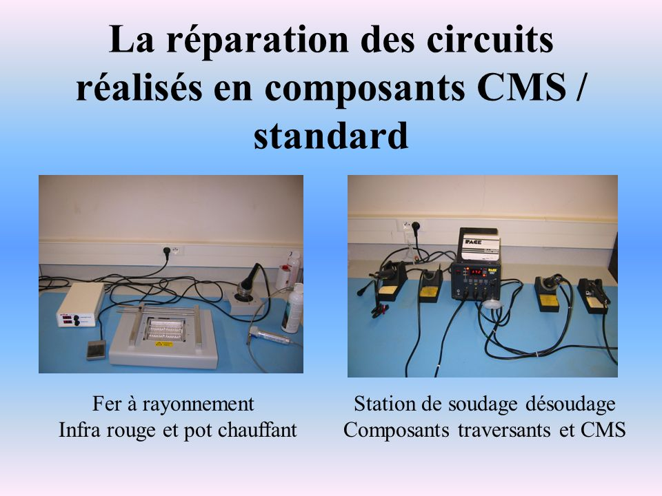 La réparation des circuits réalisés en composants CMS / standard Fer à rayonnement Infra rouge et pot chauffant Station de soudage désoudage Composant