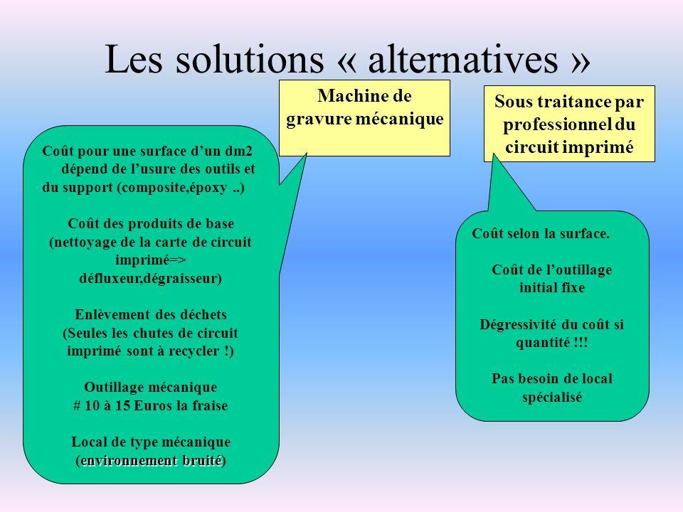 Les solutions « alternatives » Sous traitance par professionnel du circuit imprimé Machine de gravure mécanique Coût selon la surface. Coût de loutill
