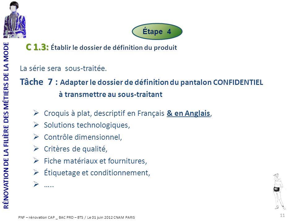 RÉNOVATION DE LA FILIÈRE DES MÉTIERS DE LA MODE PNF – rénovation CAP _ BAC PRO – BTS / Le 01 juin 2012 CNAM PARIS La série sera sous-traitée. Tâche 7