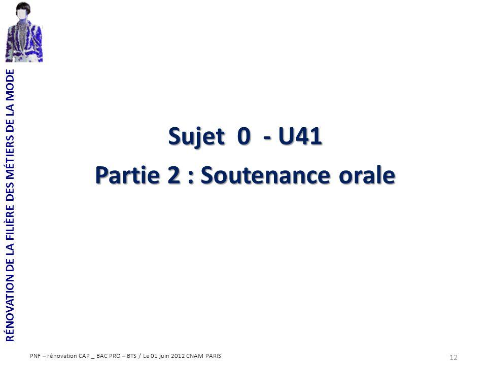 RÉNOVATION DE LA FILIÈRE DES MÉTIERS DE LA MODE PNF – rénovation CAP _ BAC PRO – BTS / Le 01 juin 2012 CNAM PARIS 12 Sujet 0 - U41 Partie 2 : Soutenan