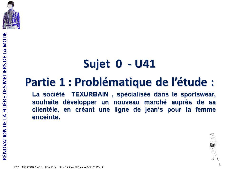 RÉNOVATION DE LA FILIÈRE DES MÉTIERS DE LA MODE PNF – rénovation CAP _ BAC PRO – BTS / Le 01 juin 2012 CNAM PARIS Sujet 0 - U41 Partie 1 : Problématiq