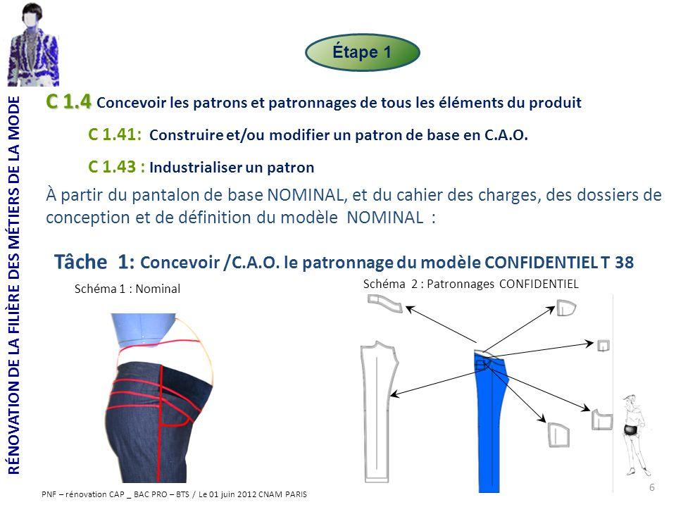 RÉNOVATION DE LA FILIÈRE DES MÉTIERS DE LA MODE PNF – rénovation CAP _ BAC PRO – BTS / Le 01 juin 2012 CNAM PARIS C 1.4 C 1.4 Concevoir les patrons et