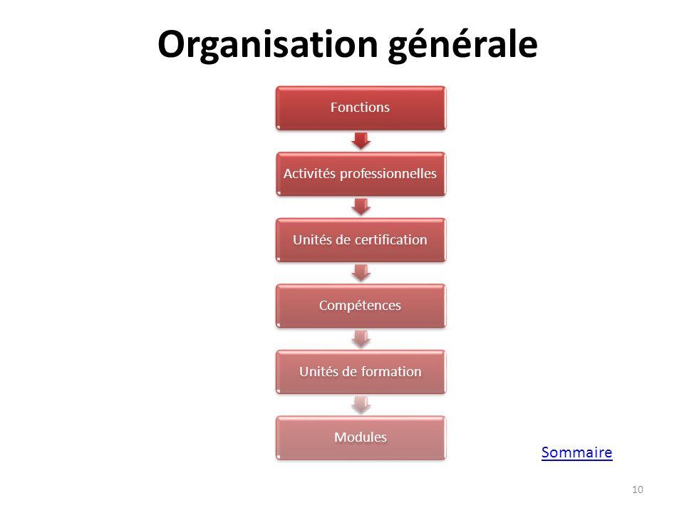 Organisation générale Modularisation du BTS Bâtiment & Travaux Publics 10 FonctionsActivités professionnellesUnités de certificationCompétencesUnités