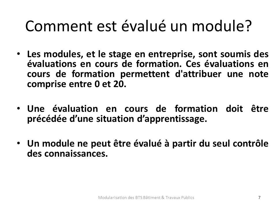 Comment est évalué un module? Les modules, et le stage en entreprise, sont soumis des évaluations en cours de formation. Ces évaluations en cours de f