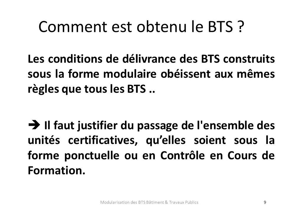 Comment est obtenu le BTS ? Les conditions de délivrance des BTS construits sous la forme modulaire obéissent aux mêmes règles que tous les BTS.. Il f