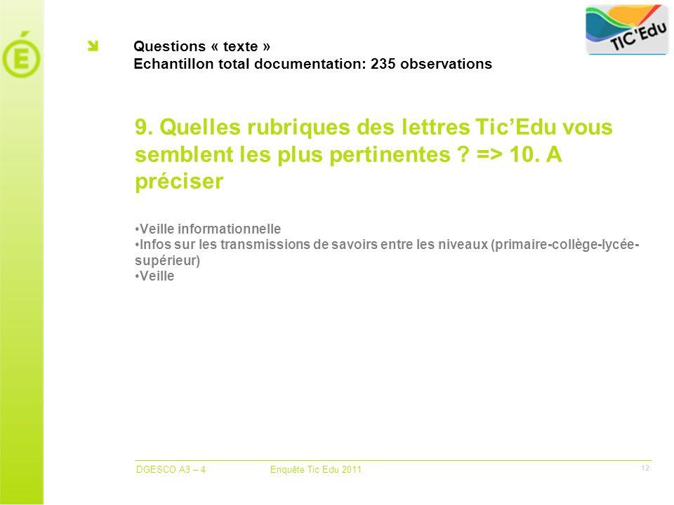 DGESCO A3 – 4 Enquête Tic Edu 2011 12 Questions « texte » Echantillon total documentation: 235 observations 9.