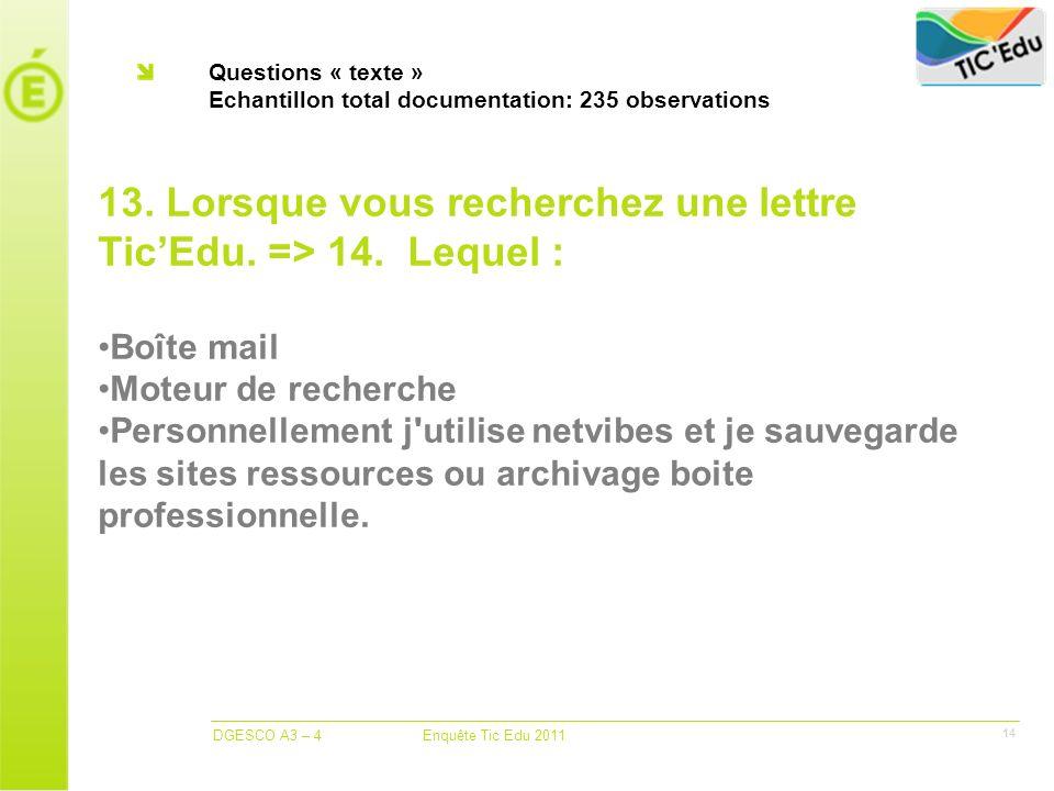 DGESCO A3 – 4 Enquête Tic Edu 2011 14 Questions « texte » Echantillon total documentation: 235 observations 13.