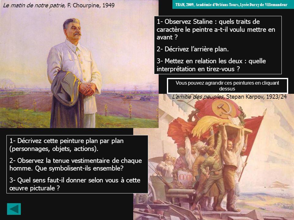 Le matin de notre patrie, F. Chourpine, 1949 Lamitié des peuples, Stepan Karpov, 1923/24 1- Décrivez cette peinture plan par plan (personnages, objets