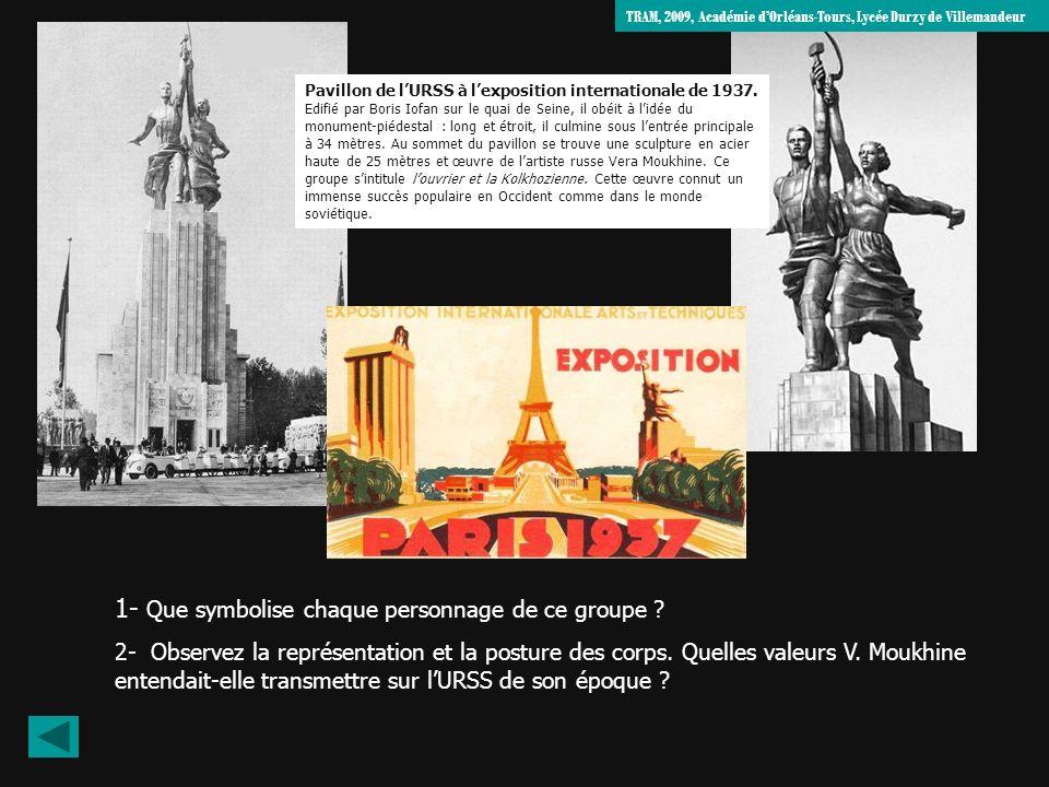 Pavillon de lURSS à lexposition internationale de 1937. Edifié par Boris Iofan sur le quai de Seine, il obéit à lidée du monument-piédestal : long et