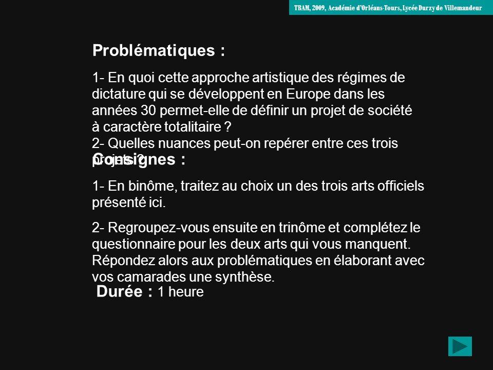 Problématiques : 1- En quoi cette approche artistique des régimes de dictature qui se développent en Europe dans les années 30 permet-elle de définir