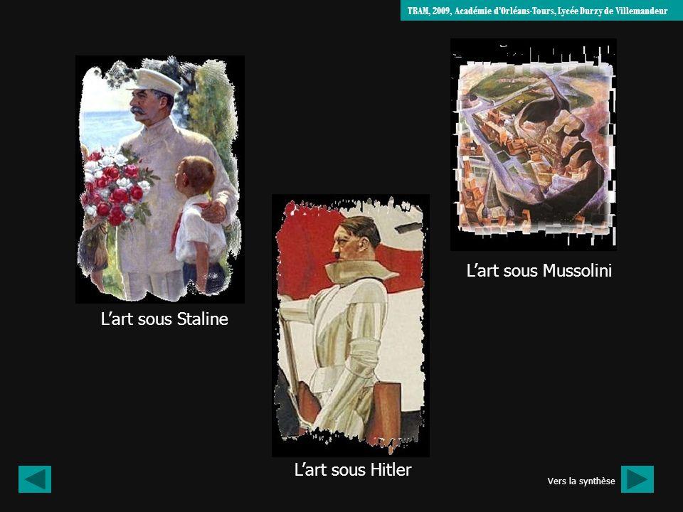 Lart sous Staline Lart sous Hitler Lart sous Mussolini TRAM, 2009, Académie dOrléans-Tours, Lycée Durzy de Villemandeur Vers la synthèse