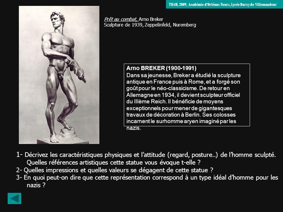 Prêt au combat, Arno Breker Sculpture de 1939, Zeppelinfeld, Nuremberg 1- Décrivez les caractéristiques physiques et lattitude (regard, posture..) de