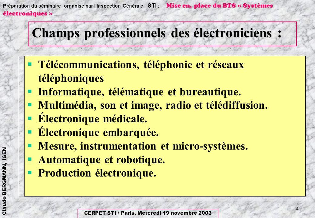 CERPET STI / Paris, Mercredi 19 novembre 2003 Claude BERGMANN, IGEN Mise en, place du BTS « Systèmes électroniques » Préparation du séminaire organisé par lInspection Générale STI : Mise en, place du BTS « Systèmes électroniques » 5 Répondre à lévolution des fonctions visées En particulier