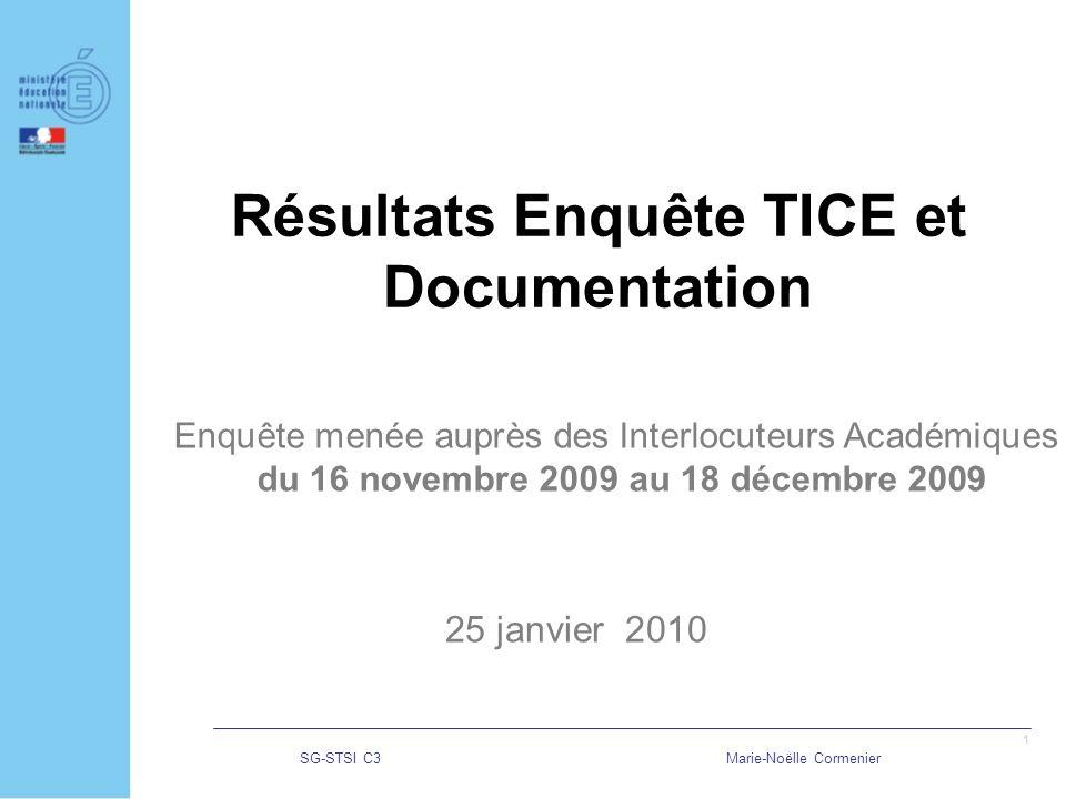 SG-STSI C3Marie-Noëlle Cormenier 1 Résultats Enquête TICE et Documentation 25 janvier 2010 Enquête menée auprès des Interlocuteurs Académiques du 16 novembre 2009 au 18 décembre 2009