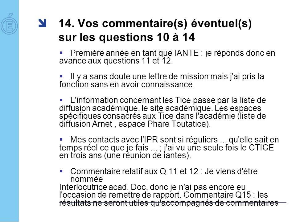 14. Vos commentaire(s) éventuel(s) sur les questions 10 à 14 Première année en tant que IANTE : je réponds donc en avance aux questions 11 et 12. Il y