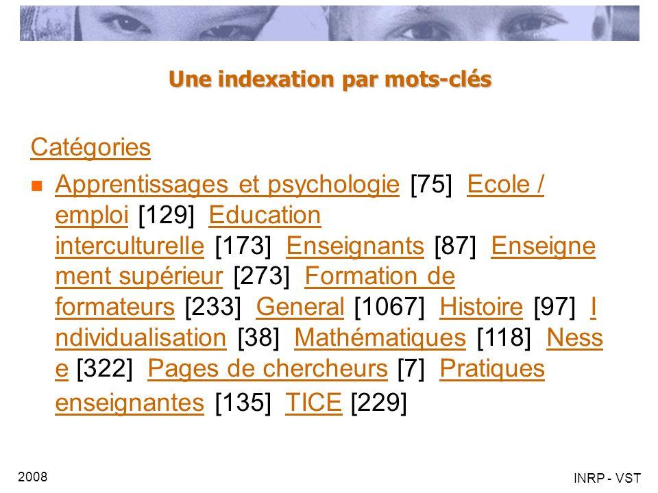 2008 INRP - VST Une indexation par mots-clés Catégories Apprentissages et psychologie [75] Ecole / emploi [129] Education interculturelle [173] Enseig