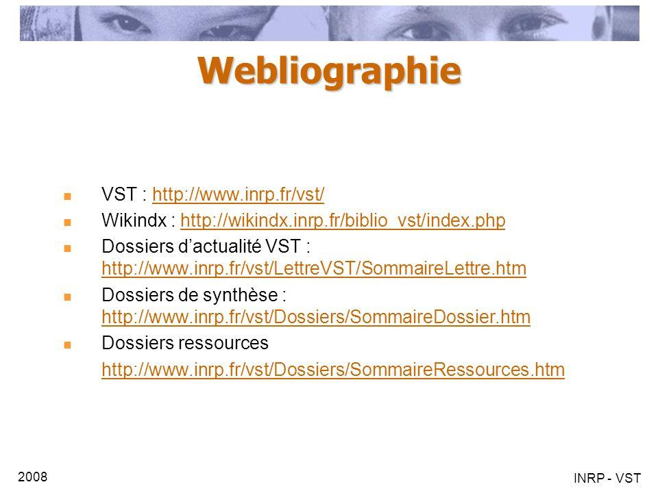 2008 INRP - VST Webliographie VST : http://www.inrp.fr/vst/http://www.inrp.fr/vst/ Wikindx : http://wikindx.inrp.fr/biblio_vst/index.phphttp://wikindx