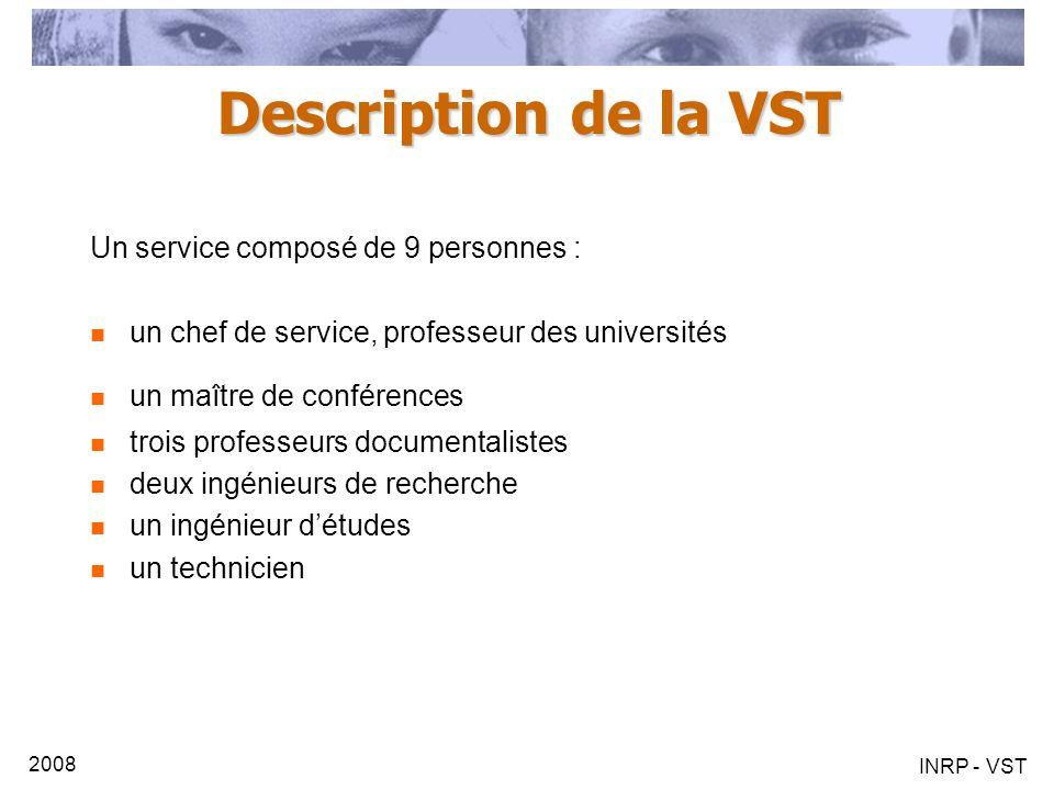 2008 INRP - VST Description de la VST Un service composé de 9 personnes : un chef de service, professeur des universités un maître de conférences troi