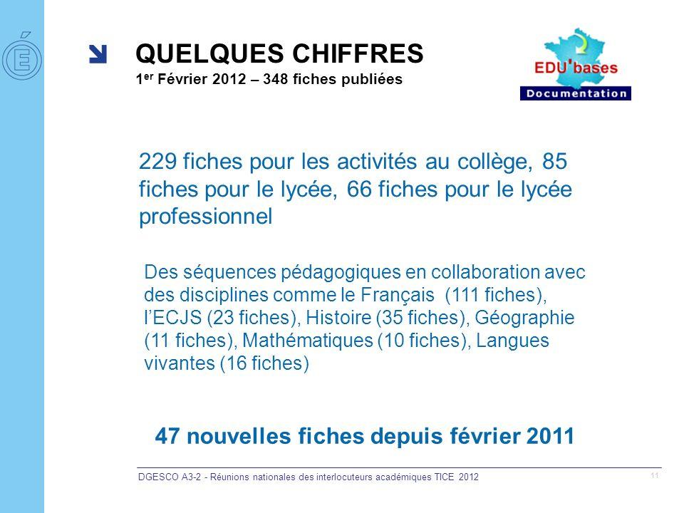DGESCO A3-2 - Réunions nationales des interlocuteurs académiques TICE 2012 11 QUELQUES CHIFFRES 1 er Février 2012 – 348 fiches publiées Des séquences