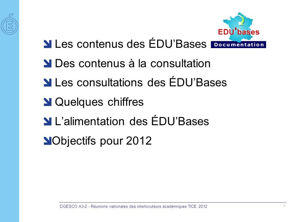DGESCO A3-2 - Réunions nationales des interlocuteurs académiques TICE 2012 2 Les contenus des ÉDUBases Des contenus à la consultation Les consultation