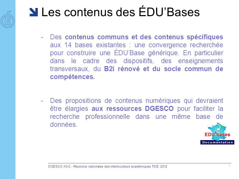 Les contenus des ÉDUBases DGESCO A3-2 - Réunions nationales des interlocuteurs académiques TICE 2012 4 -Des contenus communs et des contenus spécifiqu