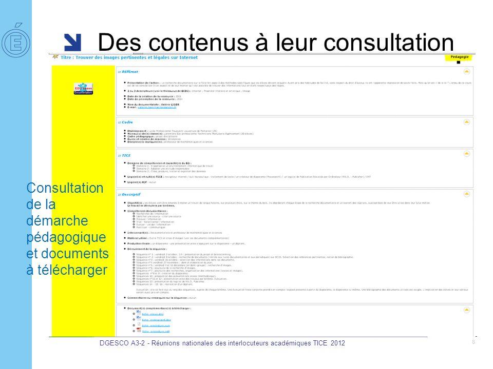 Des contenus à leur consultation DGESCO A3-2 - Réunions nationales des interlocuteurs académiques TICE 2012 8 Consultation de la démarche pédagogique