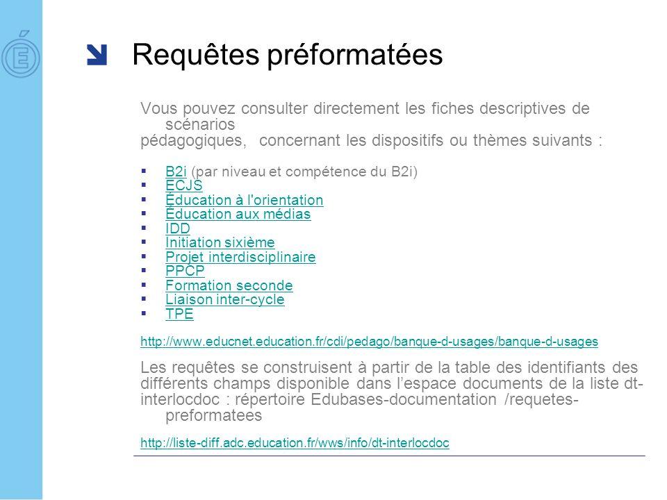 Requêtes préformatées Vous pouvez consulter directement les fiches descriptives de scénarios pédagogiques, concernant les dispositifs ou thèmes suivan