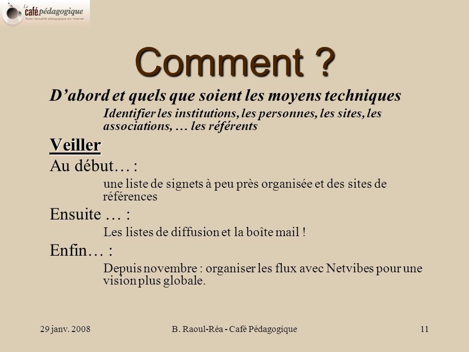 29 janv. 2008B. Raoul-Réa - Café Pédagogique11 Comment .