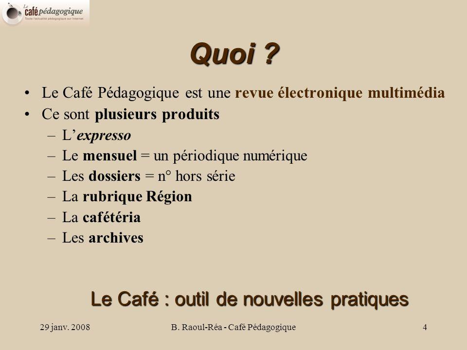 29 janv. 2008B. Raoul-Réa - Café Pédagogique5 Quoi ? * *