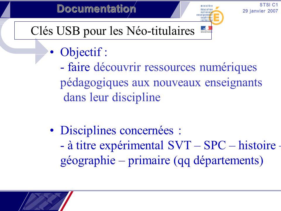 STSI C1 29 janvier 2007 Documentation Objectif : - faire découvrir ressources numériques pédagogiques aux nouveaux enseignants dans leur discipline Di