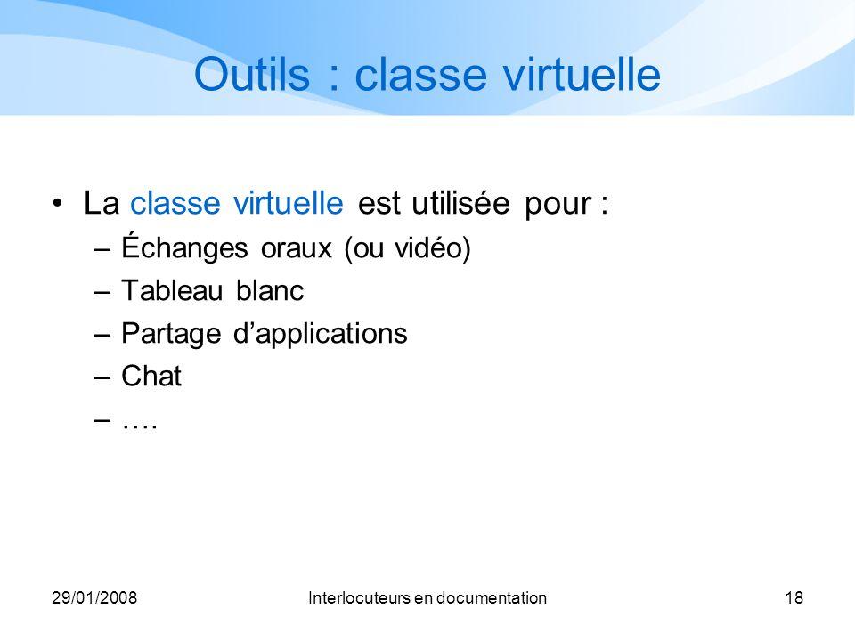 29/01/2008Interlocuteurs en documentation18 Outils : classe virtuelle La classe virtuelle est utilisée pour : –Échanges oraux (ou vidéo) –Tableau blan