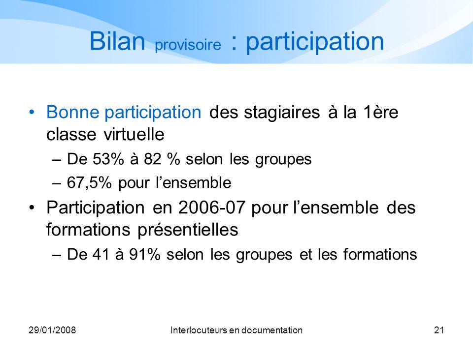 29/01/2008Interlocuteurs en documentation21 Bilan provisoire : participation Bonne participation des stagiaires à la 1ère classe virtuelle –De 53% à 8