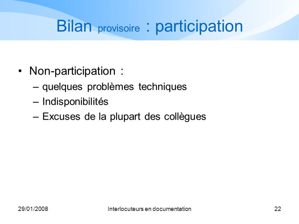 29/01/2008Interlocuteurs en documentation22 Bilan provisoire : participation Non-participation : –quelques problèmes techniques –Indisponibilités –Exc