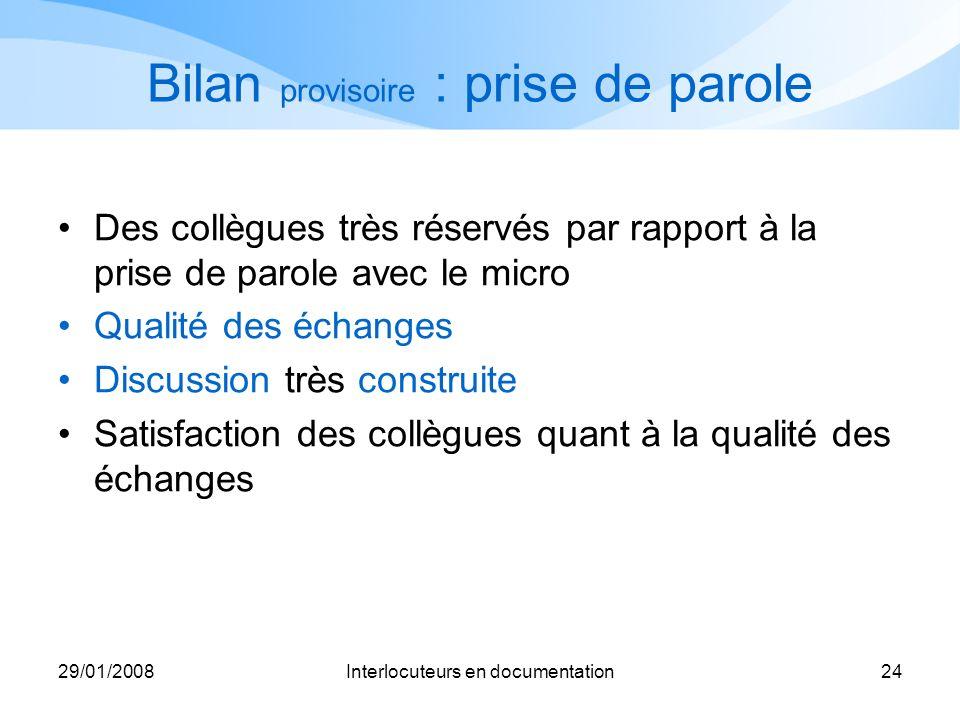 29/01/2008Interlocuteurs en documentation24 Bilan provisoire : prise de parole Des collègues très réservés par rapport à la prise de parole avec le mi