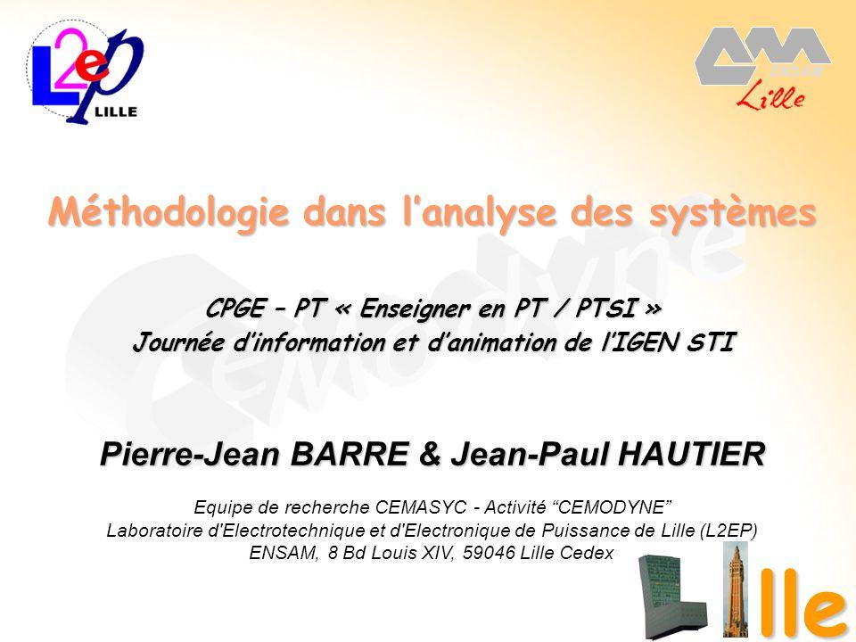 15 décembre 2006 1 Méthodologie dans lanalyse des systèmes lle CPGE – PT « Enseigner en PT / PTSI » Journée dinformation et danimation de lIGEN STI Pi