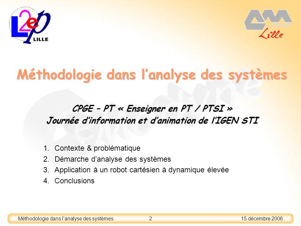 15 décembre 2006 2 Méthodologie dans lanalyse des systèmes 1.Contexte & problématique 2.Démarche danalyse des systèmes 3.Application à un robot cartés