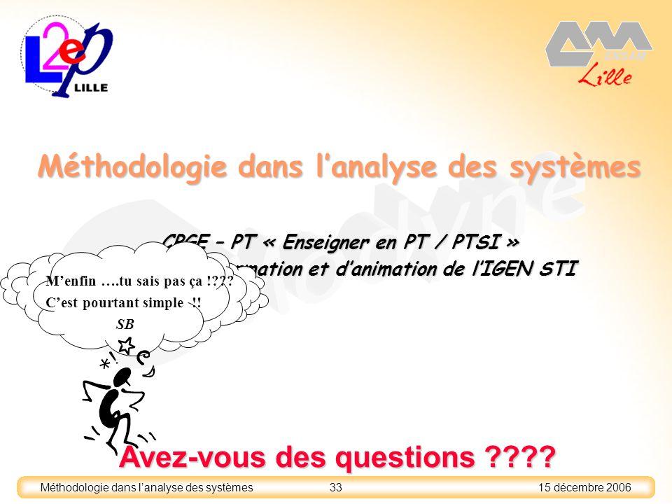 15 décembre 2006 33 Méthodologie dans lanalyse des systèmes CPGE – PT « Enseigner en PT / PTSI » Journée dinformation et danimation de lIGEN STI Avez-