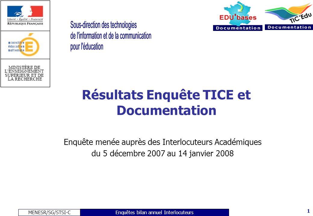 MENESR/SG/STSI-C 1 Enquêtes bilan annuel Interlocuteurs Résultats Enquête TICE et Documentation Enquête menée auprès des Interlocuteurs Académiques du 5 décembre 2007 au 14 janvier 2008
