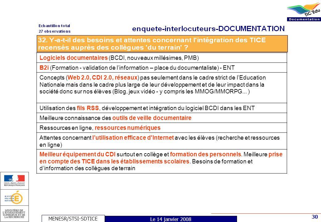 MENESR/STSI-SDTICE 30 Le 14 janvier 2008 Logiciels documentaires (BCDI, nouveaux millésimes, PMB) B2i (Formation - validation de linformation – place du documentaliste) - ENT Concepts (Web 2.0, CDI 2.0, réseaux) pas seulement dans le cadre strict de lEducation Nationale mais dans le cadre plus large de leur développement et de leur impact dans la société donc sur nos élèves (Blog, jeux vidéo - y compris les MMOG/MMORPG...