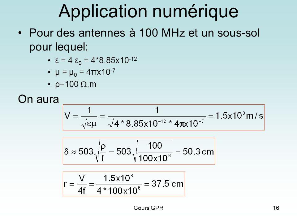 Cours GPR16 Application numérique Pour des antennes à 100 MHz et un sous-sol pour lequel: ε = 4 ε 0 = 4*8.85x10 -12 μ = μ 0 = 4πx10 -7 ρ=100.m On aura